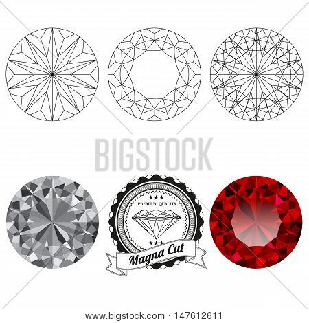 Set of magna cut jewel views isolated on white background - top view bottom view realistic ruby realistic diamond and badge. Can be used as part of logo icon web decor or other design.