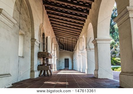 SAN DIEGO, CALIFORNIA - AUGUST 13, 2016: Hallway and columns of the Serra Mission Museum in Old Town, the former site of a fort and the first European settlement on the Pacific Coast.