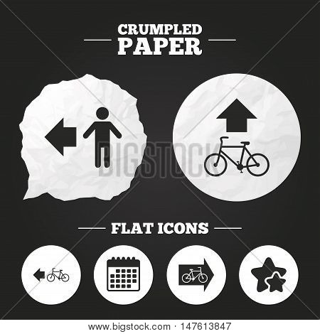 Crumpled paper speech bubble. Pedestrian road icon. Bicycle path trail sign. Cycle path. Arrow symbol. Paper button. Vector