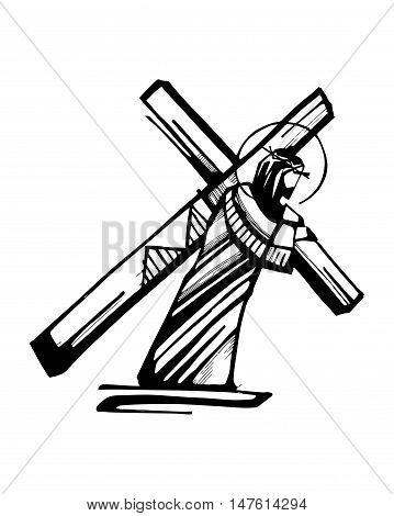 Hand drawn vector illustration or drawing of Jesus Christ with the Cross