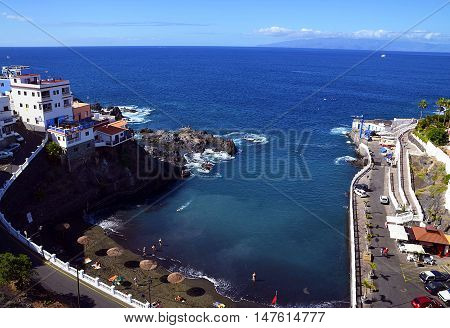 View of Puerto Santiago beach in Los Gigantes,Tenerife,Canary Islands,Spain.