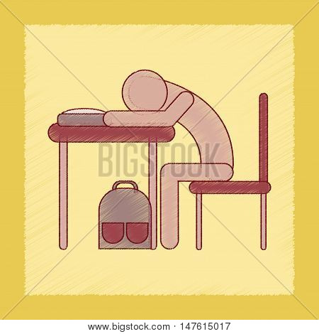 flat shading style icon of student sleeping at the desk