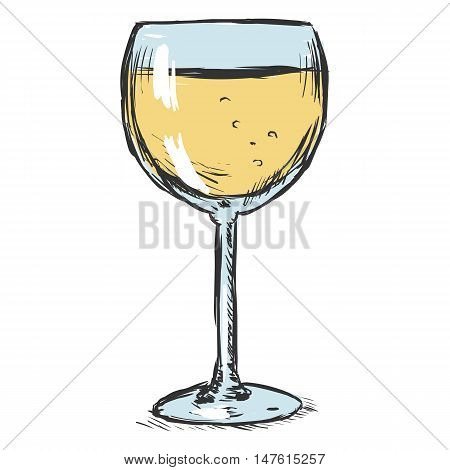 Vector Color Sketch Glass Of White Wine