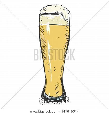 Vector Color Sketch Glass Of Light Beer
