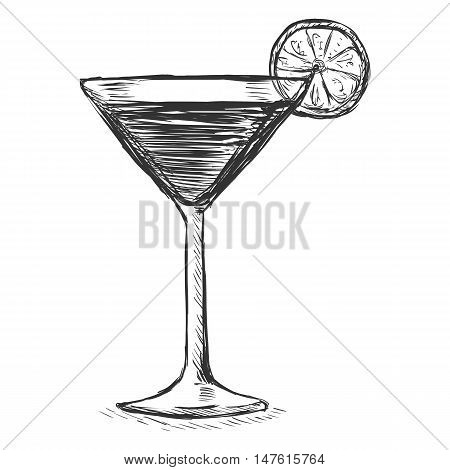 Vector Sketch Cocktail With Lime