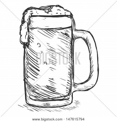 Vector Sketch Tankard Of Beer