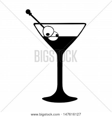 Vector  Martini Glass With Olives