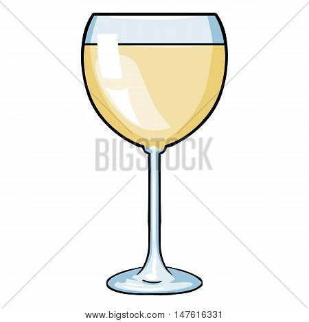 Vector Cartoon Glass Of White Wine