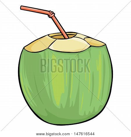 Vector Cartoon Coconut Cocktail With A Straw