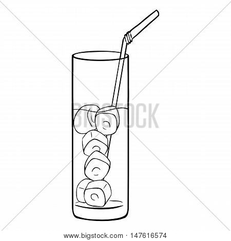 Vector Lineart Glass Of Lemonade On The Rocks With A Straw