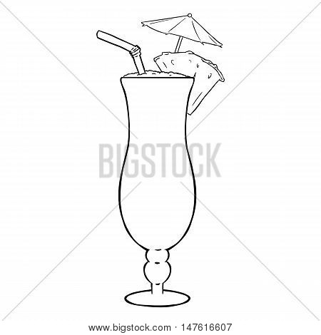 Vector Lineart Cocktail Pinot Colada With Pineapple, Umbrella And Straw.