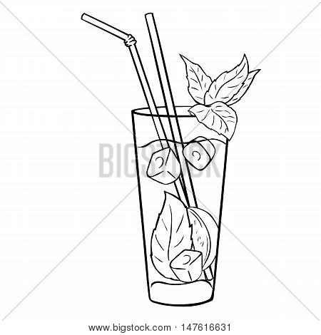 Vector Lineart Cocktail Mojito With Mint Leaves And Straws