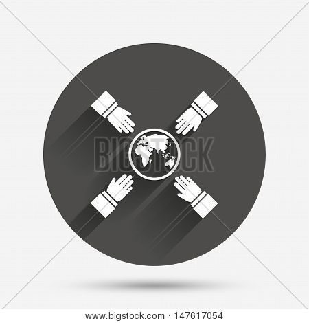 Hands reach for earth sign icon. Save planet symbol. Circle flat button with shadow. Vector