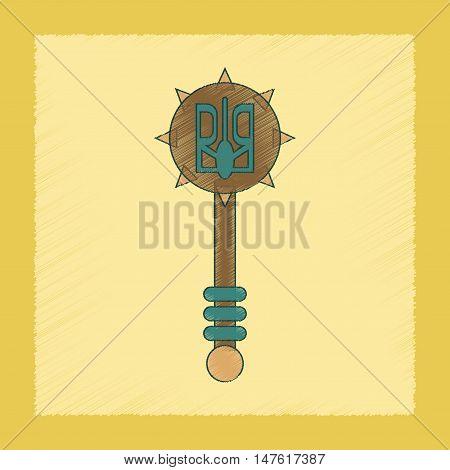 flat shading style icon of Ukrainian mace