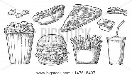 Set fast food. Glass of cola, hamburger, pizza, hotdog, fries potato in paper box, carton bucket full popcorn and ketchup. Isolated on white background. Vector vintage engraving illustration for menu