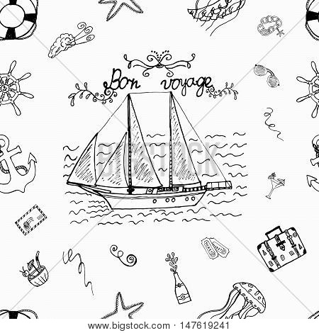Bon Voyage Summer Holiday. Ideal Perfect Sketch pattern for vacation design. The hand drawn seamless background about travel. Doodle decoration iterate objects. Sailboat at sea. Vector illustration.