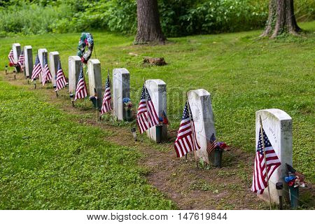 Columbia Pa - June 11 2016: Zion Hill Cemetery is the final resting place of Black Union soldiers including seven who fought with the famous 54th Mass Company D regiment.