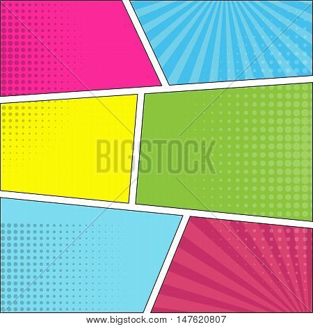 Six comic speech bubble background pop art style. Colorful vector illustration. Bright cartoon comic. Six colored pop-art backdrop.