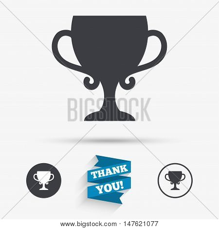 Winner cup sign icon. Awarding of winners symbol. Trophy. Flat icons. Buttons with icons. Thank you ribbon. Vector