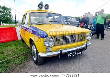 Kharkiv Ukraine - May 22 2016: Soviet retro police car VAZ-2101 manufactured between 1970 and 1988 is presented at the festival of vintage cars Kharkiv Retro Rally - 2016 in Kharkiv Ukraine on May 22 2016