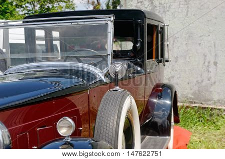 Kharkiv Ukraine - May 22 2016: Close up of retro car Packard Single Eight 143 manufactured between 1924 and 1931 is presented at the festival of vintage cars Kharkiv Retro Rally - 2016 in Kharkiv Ukraine on May 22 2016
