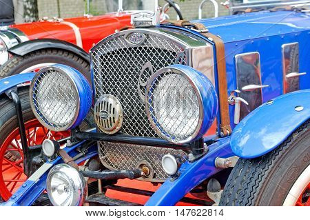 Kharkiv Ukraine - May 22 2016: Close up of retro blue Ford manufactured between 1935 and 1939 is presented at the festival of vintage cars Kharkiv Retro Rally - 2016 in Kharkiv Ukraine on May 22 2016