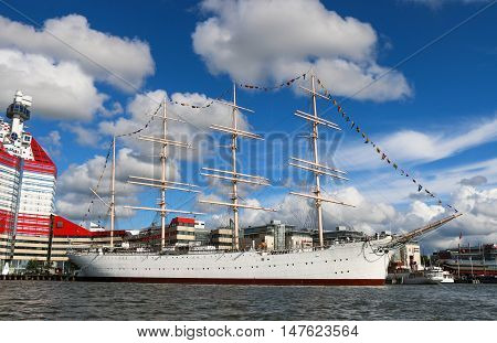 GOTHENBURG, SWEDEN. 07/2016 Lilla Bommen harbor with the Barken Viking ship in the evening. She was built in 1906 and is reported to be the biggest sailing ship ever built in Scandinavia.