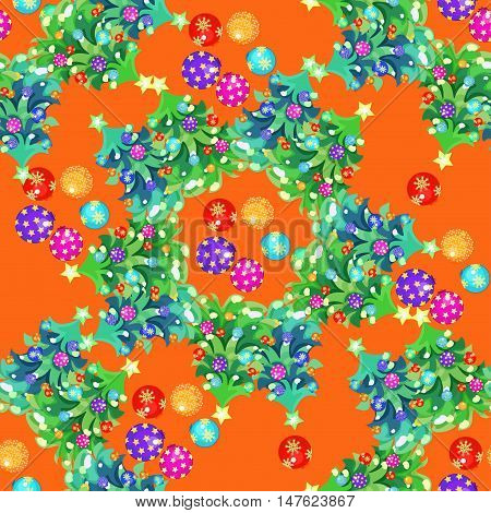 Seamless Circular Pattern Fishbone And Christmas Balls On An Orange Background Vector Illustration