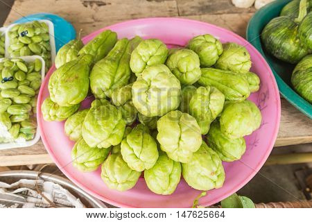Fresh chayote selling at local Thai market Northeast of Thailand