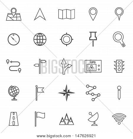 Navigation line icons on white background, stock vector