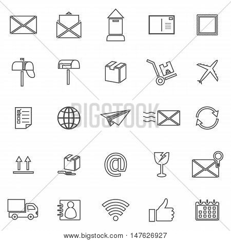 Post line icons on white background, stock vector