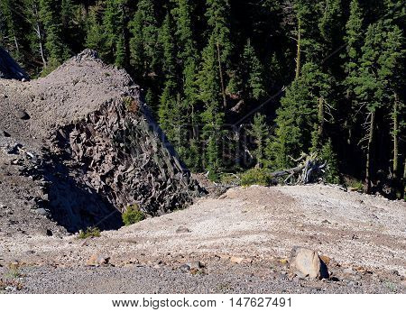 Jagged mountainside in the forest of Crater Lake National Park in Southern Oregon.