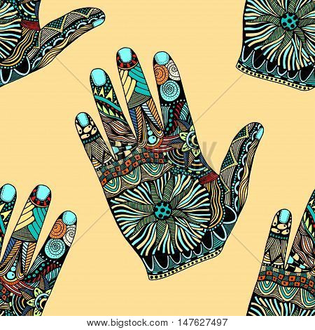 Seamless Colored Floral palm background, hand drawn zentangle style for our design. Vector illustration