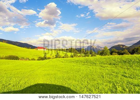 Perfect view from the car window at stunning landscape of Austrian alps