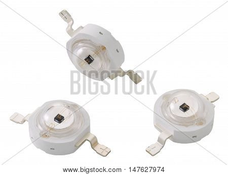 Infrared light-emitting diodes. LEDs isolated on white background without shadows