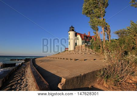 Breakwater and Point Betsie Lighthouse in Michigan