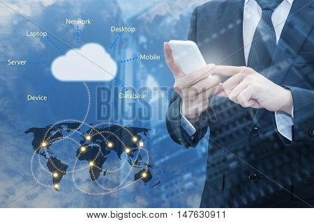 Double Exposure Of Professional Businessman Connecting Cloud Internet Smart Phone With Servers Techn