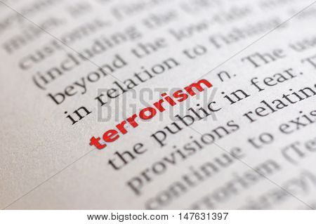 photo of Dictionary definition of terrorism Close-up view