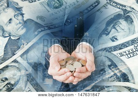 Double Exposure Of City Businessman Coins And Bank Dollar Note For Finance And Banking Concept
