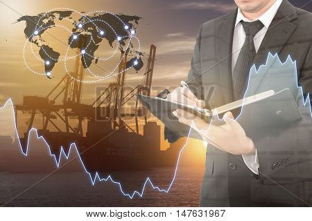 Double Exposure Of Businessman Analyzing Financial Report With Financial Graph , Transportation Port