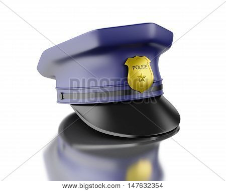 3d Illustration. Blue officer cop cap. Isolated white background.