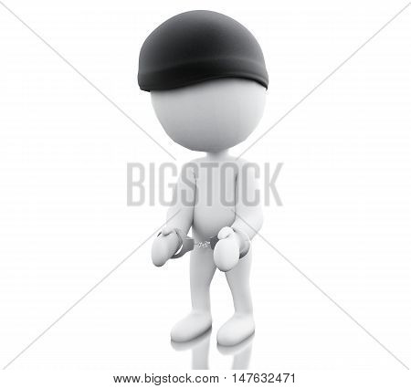 3d renderer image. A thief arrested with handcuffs. Isolated white background.