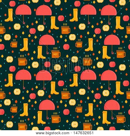 Autumn stuff pattern. Vector background with dry fall leaves umbrella and rubber boots. Illustration for autumn sales advertisement party invitations.