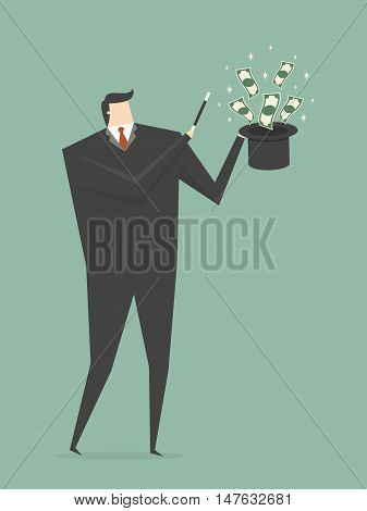 Businessman Making Money From Magic Hat. Business concept cartoon illustration.