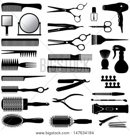 set of silhouettes of tools for the hairdresser