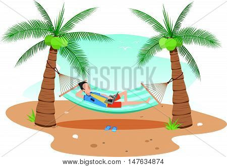 vector illustrationman chilling using laptop in a hammock on beach under two coconuts treecartoon flat style