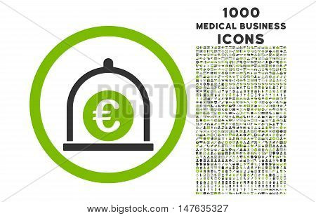Euro Standard rounded vector bicolor icon with 1000 medical business icons. Set style is flat pictograms, eco green and gray colors, white background.