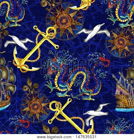 Seamless marine background with sea elements, dragon, anchor, gulls and compass. Fantasy endless illustrations with vintage transportation concept, hand drawn nautical pattern on blue texture