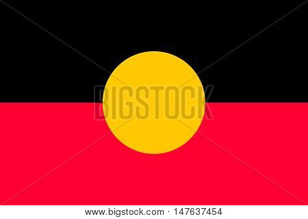Australian Aboriginal flag in correct size proportions colors. Accurate standard dimensions. Aboriginal official flag. Commonwealth of Australia patriotic symbol banner element background. Vector