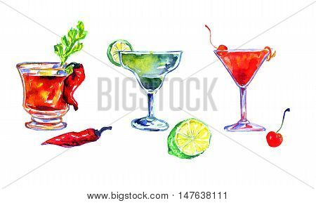 Hand Painted Watercolor Illustration Isolated Set of Cocktails: Bloody Mary, Margarita and Cosmopolitan
